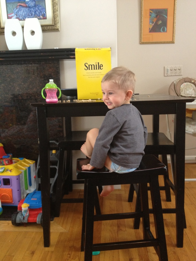 I'm trying to get Evan a job as Cheerios' new spokesman